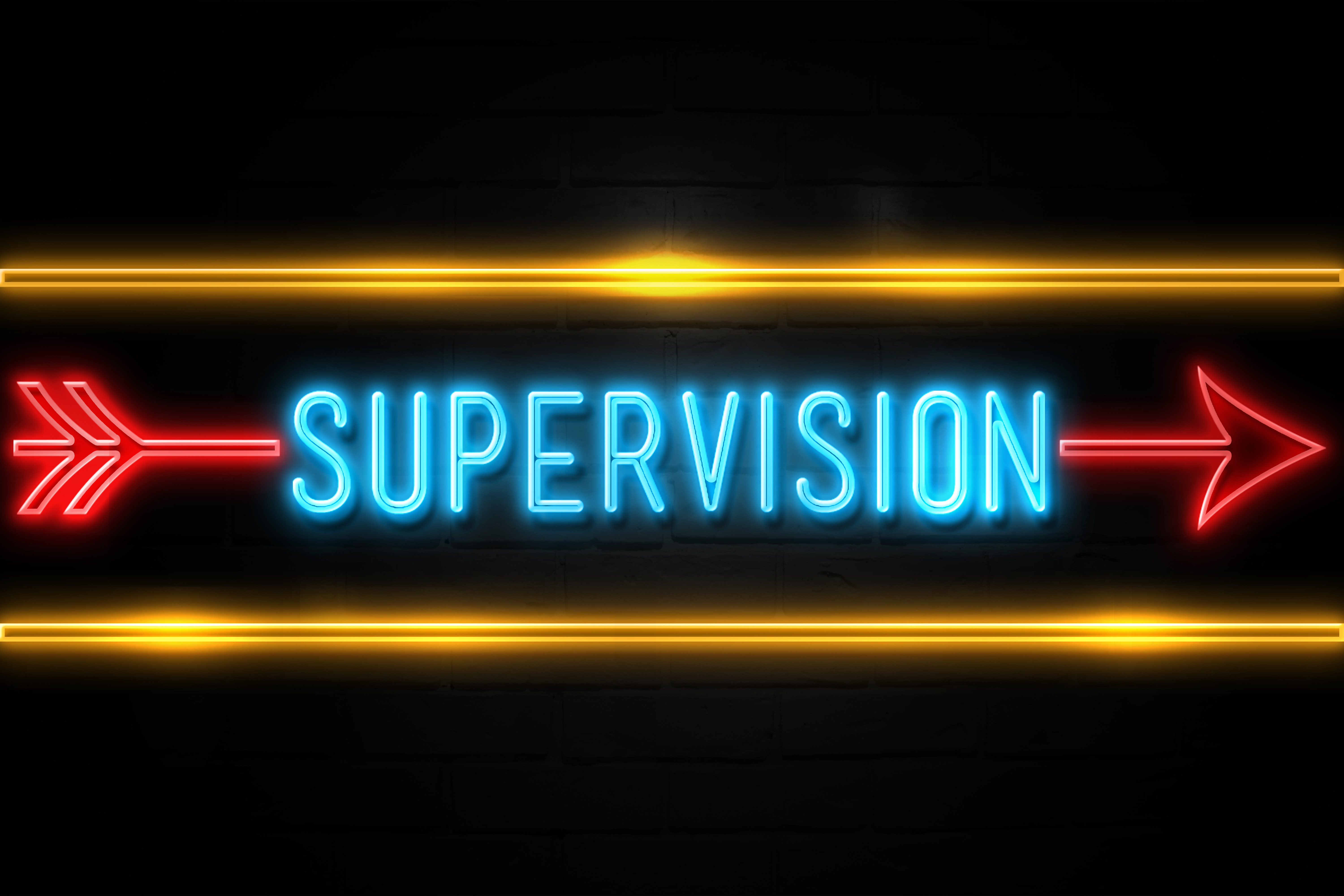 Supervision  - fluorescent Neon Sign on brickwall Front view